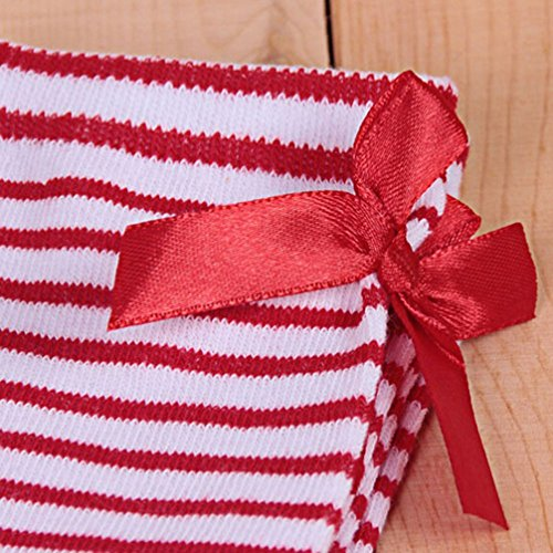 Haresle Girls Kids Knee High Socks Striped Long Socks with Bowknot (Red + White) by Haresle (Image #3)