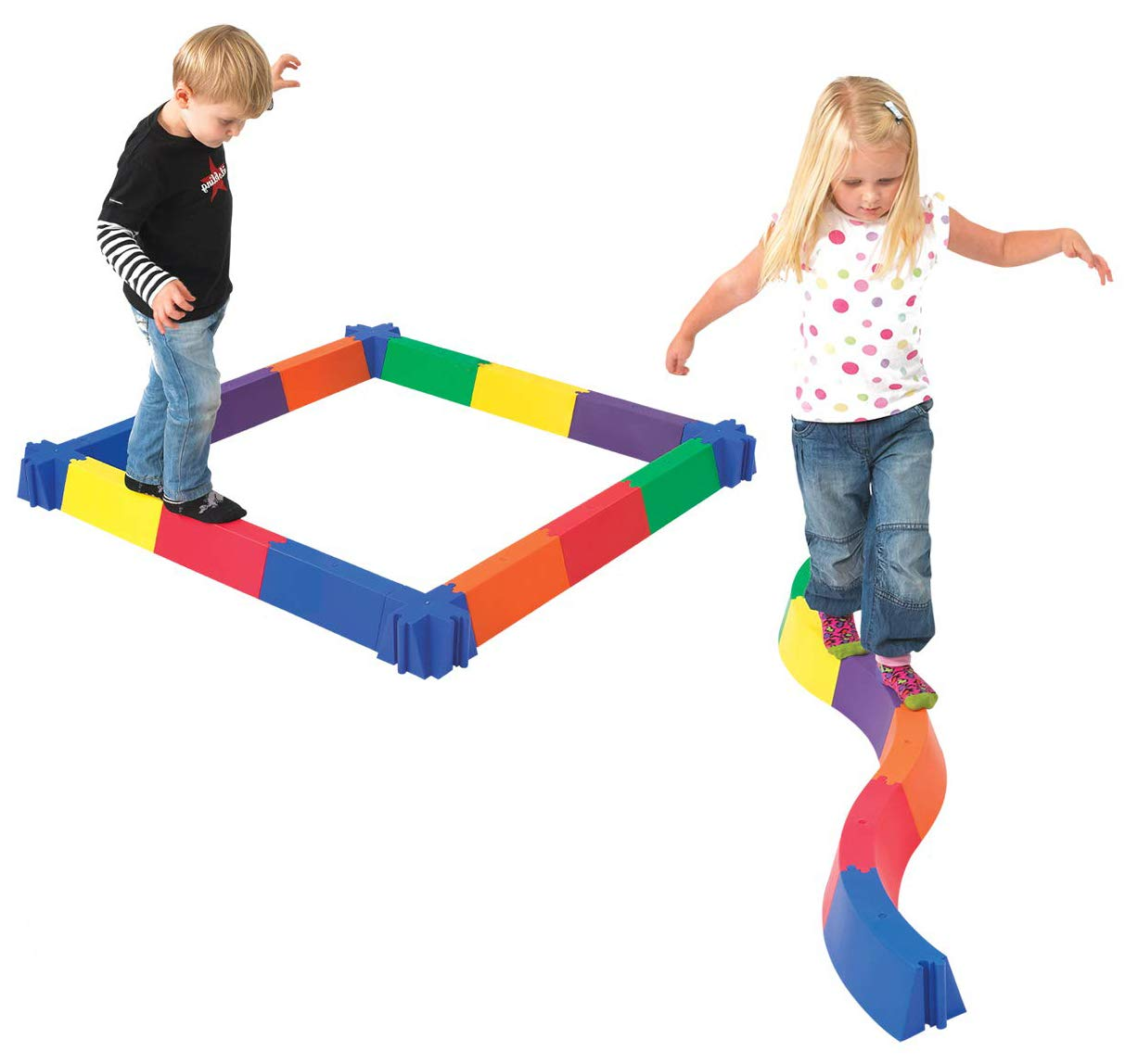 Edx Education Balancing Path - in Home Learning Supplies for Kids Physical Play - 28 Pieces - Indoor and Outdoor - Exercise and Gross Motor Skills - Build Coordination and Balance