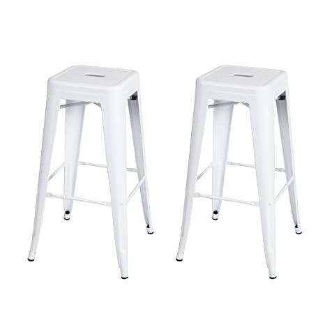 Sensational Adeco 30 Inch Metal Bar Stools Barstool Tolix Style Industrial Chic Chair Glossy White Set Of 2 Pabps2019 Chair Design Images Pabps2019Com