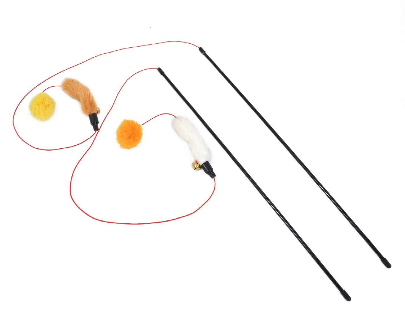 Cat Toys Wand Combo Pack (Mouse and Bell - White and Tan)