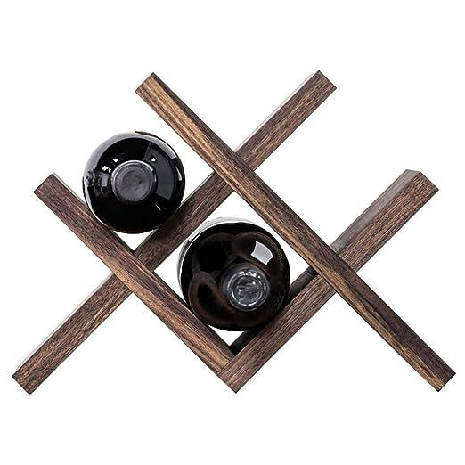 HYLH Botellero Mesa Nogal Negro   Madera Maciza Vino Tinto pequeño ...