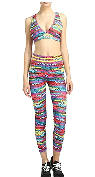 Jaycargogo Womens 2 PCS Pattern Print Sports Bra Pants Set ...