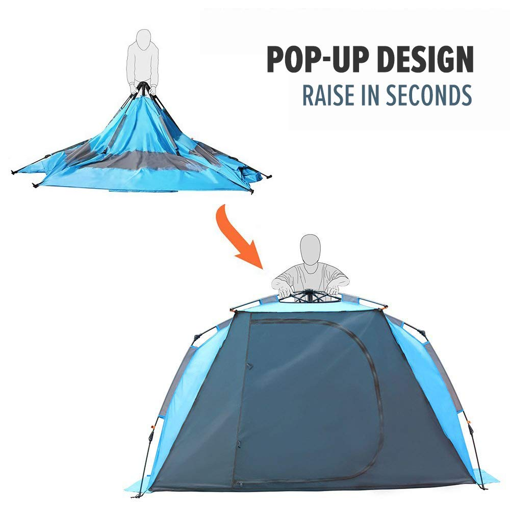 OutdoorMaster Pop Up Beach Tent – Easy to Set Up, Portable Beach Shade with UPF 50 UV Protection for Kids Family