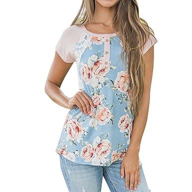 Traumzimmer Damen T Shirt BeiläUfig Floral Bedruckt Spitze NäHen Taste O  Ausschnitt Tops Bluse Lose Hemd 2e53d5d7c4