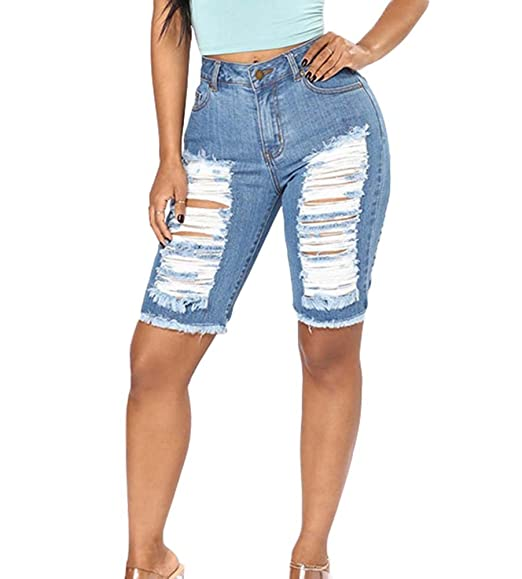 enorme sconto 8dbc3 5c40f Moda Femminile da Donna Hip Jeans Slim Pantaloncini Corti ...