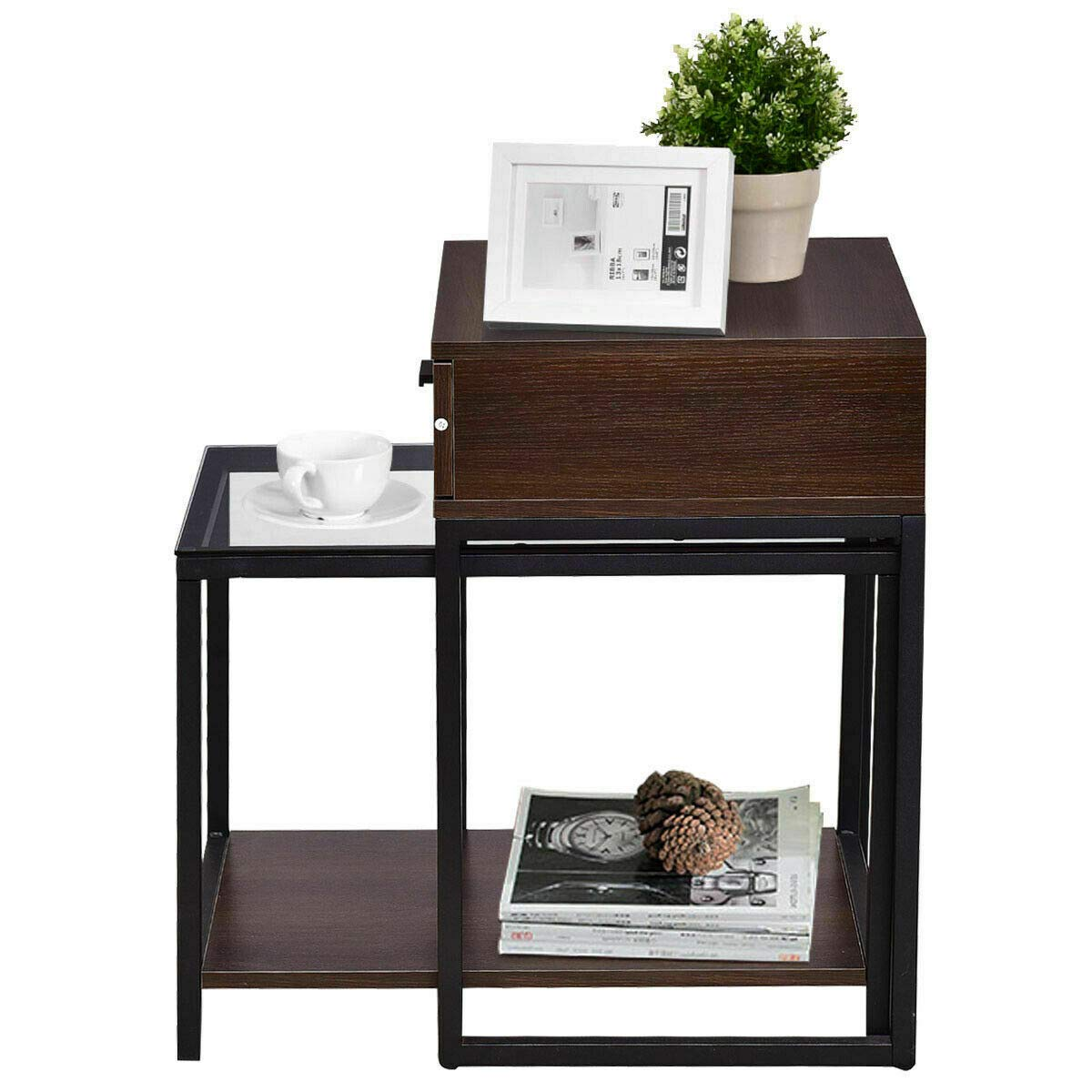 Lovelabel 2 Pieces Nesting Table Coffee Table Side Table End Table Metal Frame Wood Glass by LOVELABEL