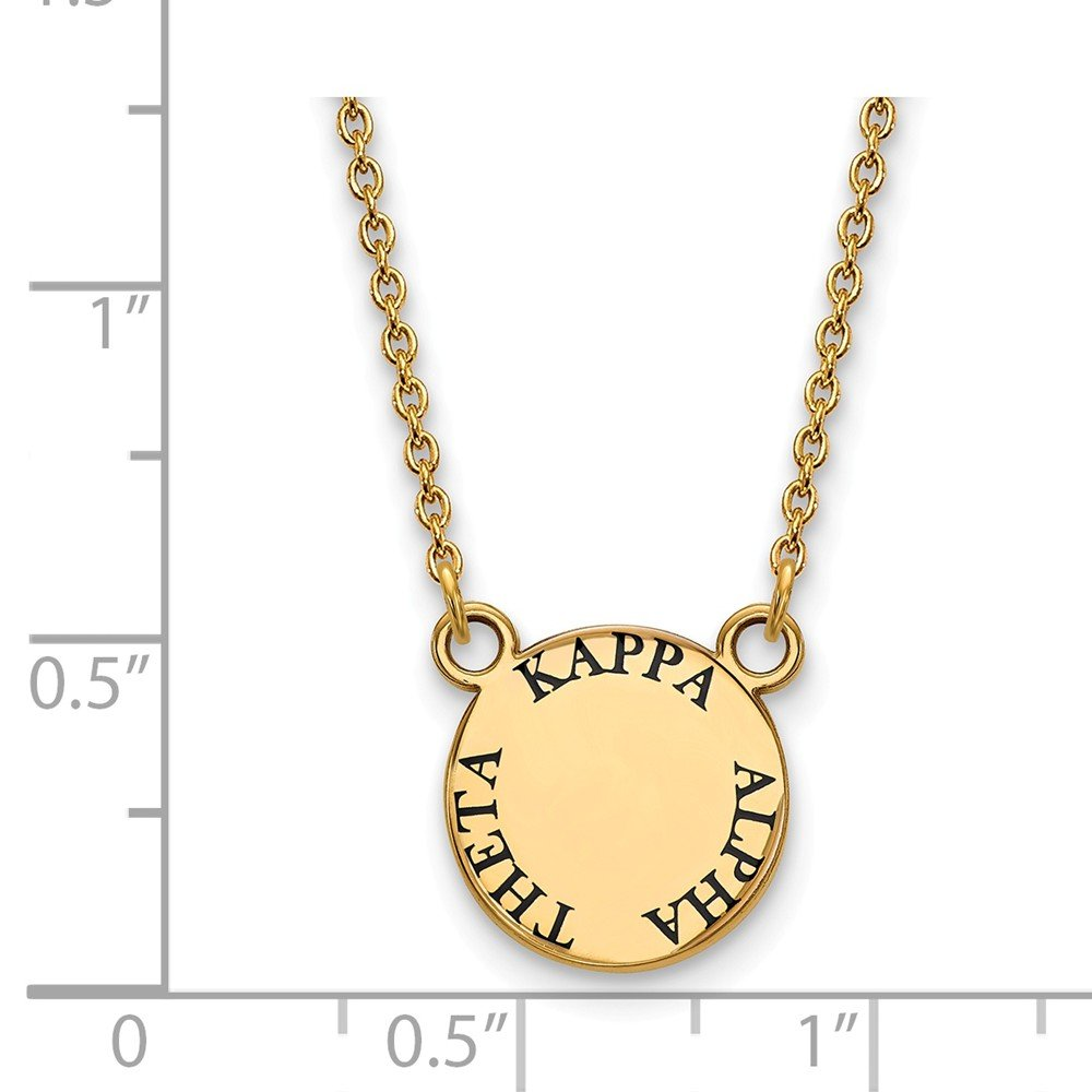 Jewel Tie 925 Sterling Silver with Gold-Toned Kappa Alpha Theta Extra Small Enl Pendant with Necklace 12mm