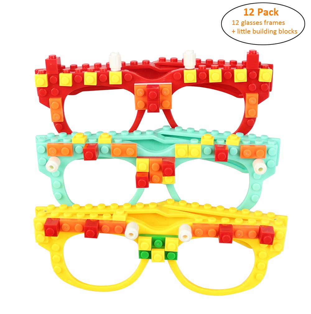 12 Pcs DIY Building Bricks Glasses with Building Blocks for Creative Building Birthday Party Favors for Kids Girls Boys Early Education Enlightenment Intelligence Toys