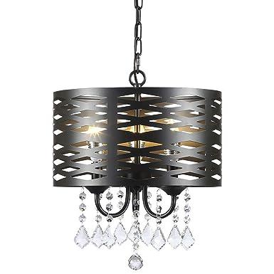 Berliget Round 3-Lights Adjustable Chain Black Finshed Metal Shade Crystal Chandelier Pendant Ceiling Fixture, Hanging Light Fixture for Living Room, Kitchen, Bar, Dining Room