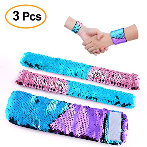 KUUQA Sequin Mermaid Drawstring Backpack Bag with Wristband Bracelet ,Magic Reversible Sequins Glitter Hiking Gym Shoulder Bag Birthday Party Favors Gifts(2 Pcs) (Accessory)