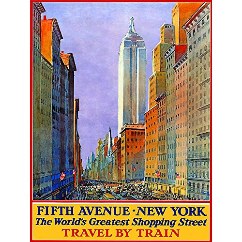 Wee Blue Coo Travel New York City Fifth Avenue Shop Store Rail USA Unframed Wall Art Print Poster Home Decor ()