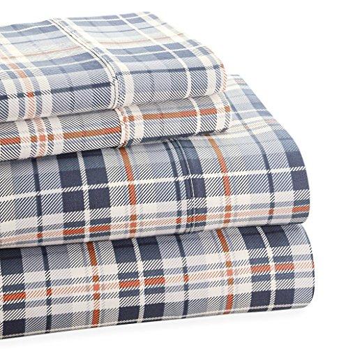 Park Avenue Comforter Set - Trade Linker Park Avenue 4-Piece 350 Thread Count Cotton Rich Printed Sheet Set, King, Plaid