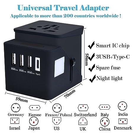 Adaptador Enchufe, Adaptador de viaje, Type C + 3 Usb Adaptador Enchufe Internacional De Viaje Universal para Ue / Us / Uk / Aus utilizado en más de 200 ...