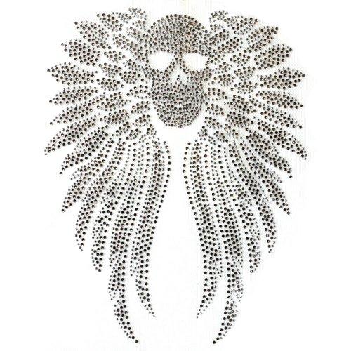 Rhinestone Iron on Transfer Hot Fix Motif Crystal Fashion Design Skull Wings 3 Sheets 11.213.1 Inch
