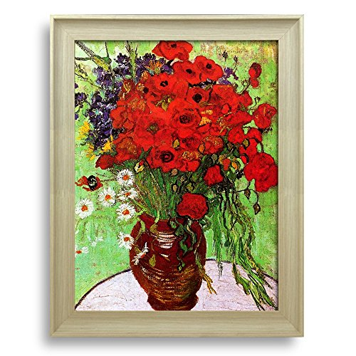 Framed Art Still Life: Red Poppies and Daisies by Vincent Van Gogh Famous Painting Wall Decor Natural Wood Finish Frame
