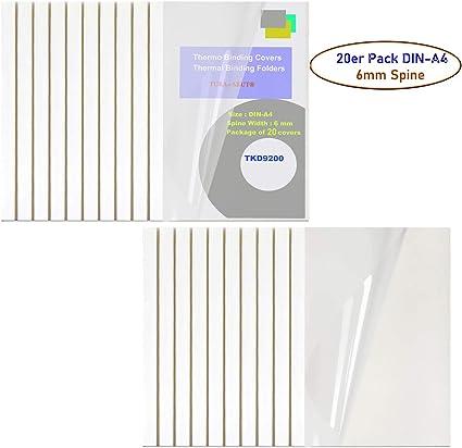 TUKA 20x A4 Carpetas Térmicas de 6 mm (Capacidad 60 Hojas), Fundas para Encuadernación Térmicas, Frente Transparente, Cubierta de Encuadernación Térmica, Paquete de 20, Blanco, TKD9200-A4-white-20x: Amazon.es: Oficina y papelería