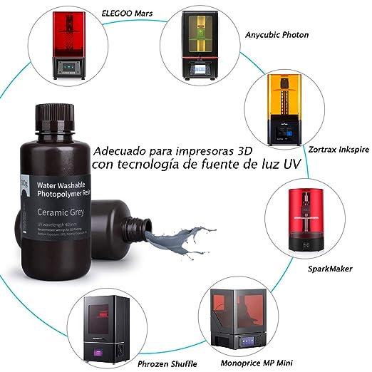 ELEGOO Lavable con Agua 3D Resina rápida para Impresora 3D LCD ...