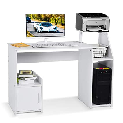 Fine Lv Life Computer Desk With Host Drawer And Printer Shelf For Home Office Pc Table Workstation White Download Free Architecture Designs Ferenbritishbridgeorg