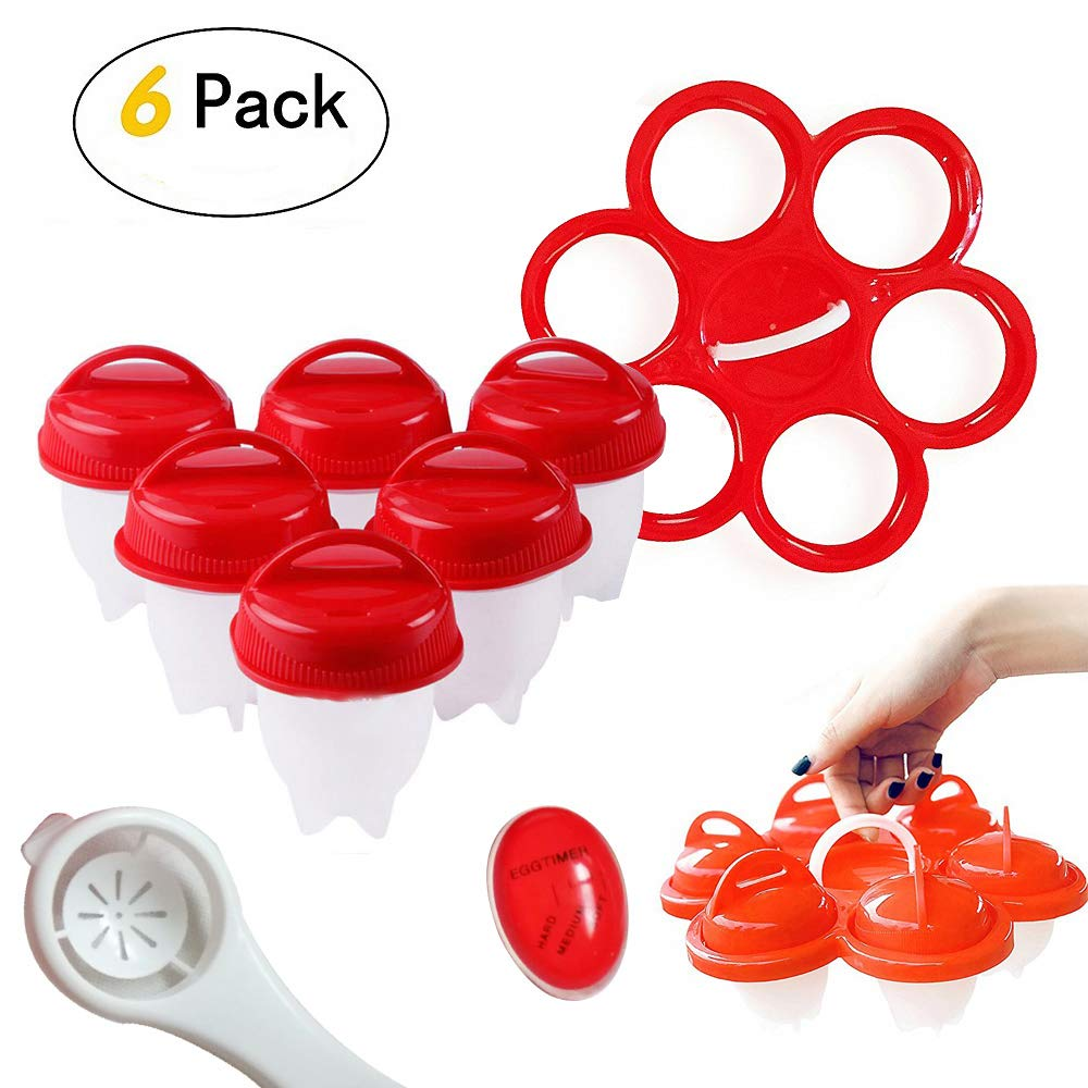 Upgrade Version Silicone Egg Cooker, 6PCS Pack Egg Container Steamer with Holder for Balance in Boiled Water