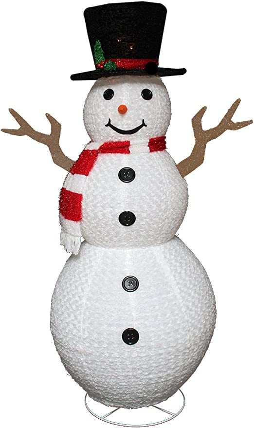 Northlight Seasonal Pre Lit Outdoor Chenille Swirl Large Snowman W Top Hat Christmas Yard Art Decoration 72 Home Kitchen