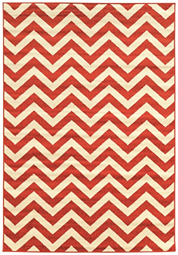 Linon Claremont Collection Chevron Synthetic Rugs, 5' x7', Terracotta -