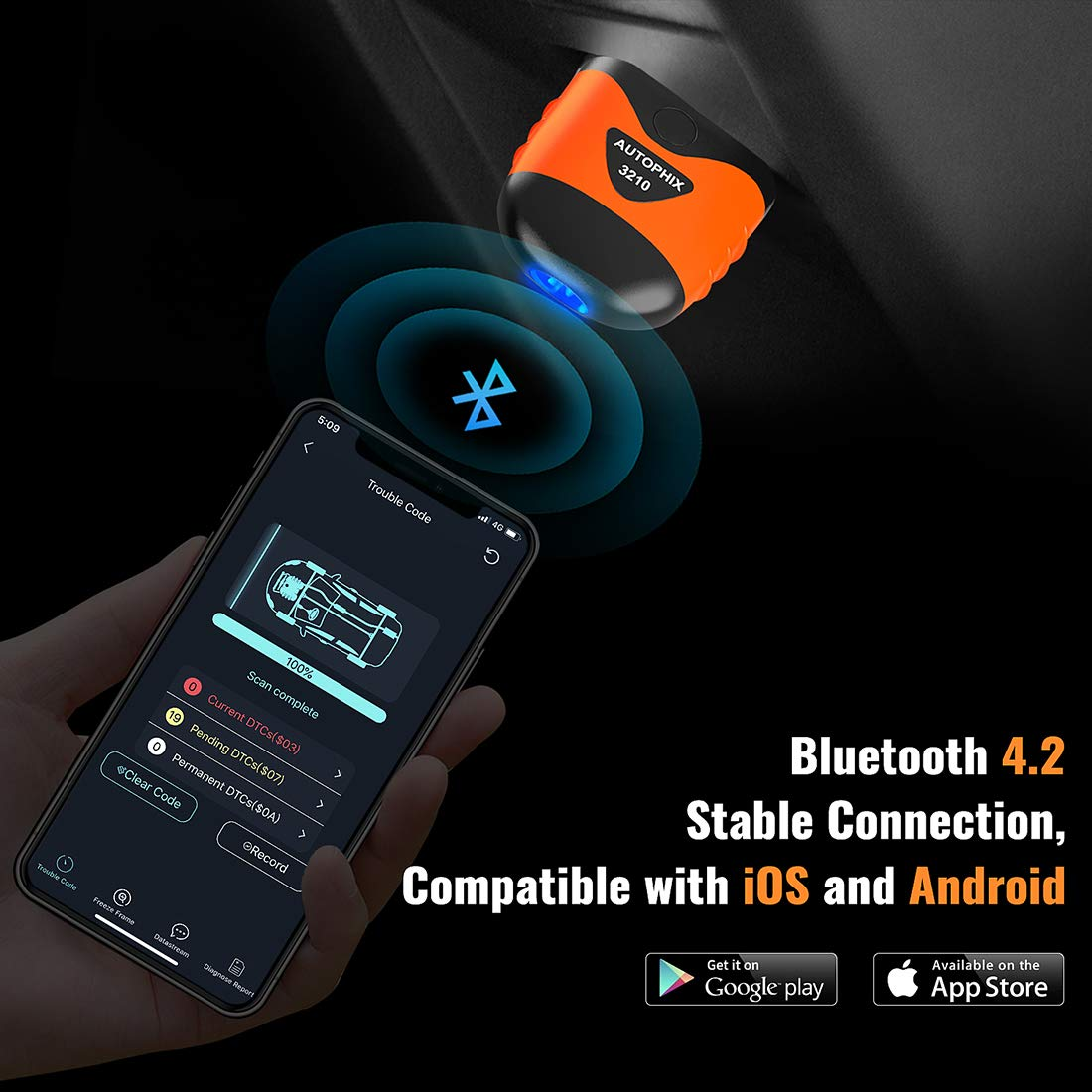 AUTOPHIX 3210 Bluetooth OBD2 Enhanced Car Diagnostic Scanner for iPhone, iPad & Android, Fault Code Reader Plus Battery Tester Exclusive App for Quality-Newest Generation by AUTOPHIX (Image #2)