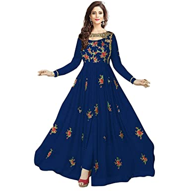 a8ef8e552b Navya Export Women's Georgette Embroidered With Stone Work Semi-Stitched Salwar  Suit Salwar Suit Material