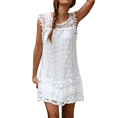 Summer 2018 Women Casual Lace Sleeveless O-Neck Beach Short Dress Fashion Tassel Dresses Vestidos Mujer at Amazon Womens Clothing store: