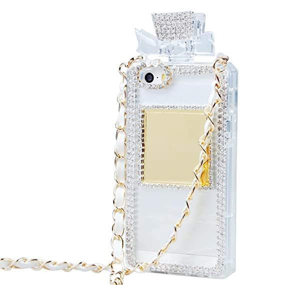 promo code bc3e9 8826a Tobestronger Diamond Crystal Perfume Bottle Shaped Chain Handbag Case Cover  For Iphone 6 plus 5.5 inch (white)