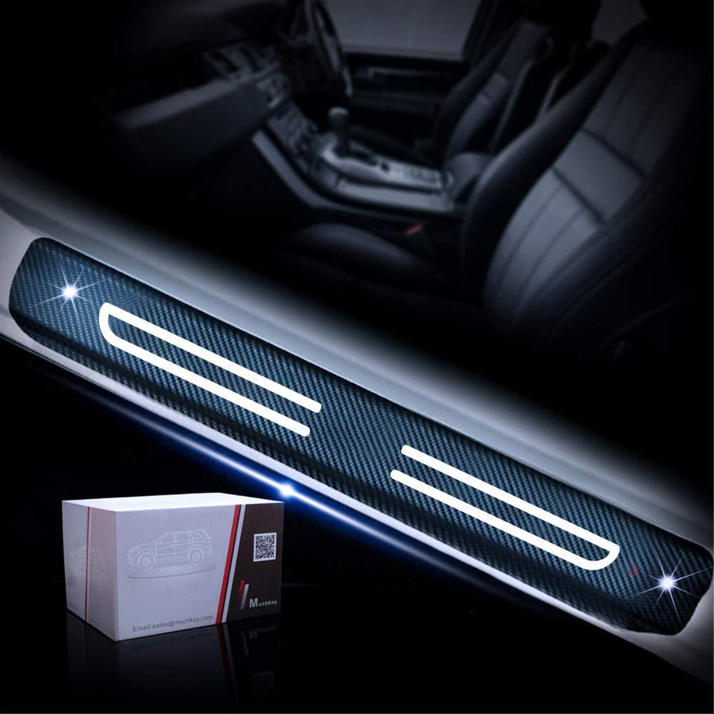 Pegatinas Adhesiva de Fibra de Carbono 4D Protector de Umbral de la Puerta del Coche para Soul Sportage Niro Optima Sorento Azul 4 Piezas