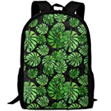 OIlXKV Tropical Banana Leaf Print Custom Casual School Bag Backpack Multipurpose Travel Daypack For Adult