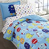 monsters inc bedding set twin - Wildkin 5 Piece Twin Bed-in-A-Bag, 100% Microfiber Bedding Set, Includes Comforter, Flat Sheet, Fitted Sheet, Pillowcase, and Embroidered Sham, Olive Kids Design – Monsters