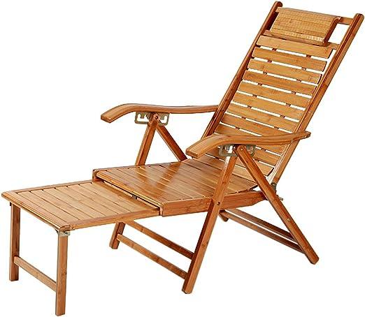 Silla de jardín reclinable Plegable Silla Tumbona con Respaldo al Sol Silla de bambú Respaldo de bambú Sillas de Playa Tumbona reclinable con reposacabezas Reposapiés Ajustable MAX.200kg: Amazon.es: Hogar