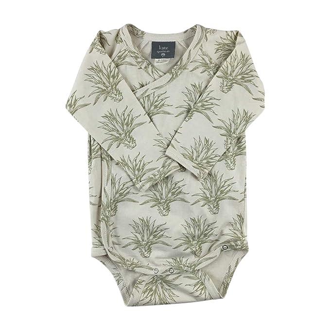614c74d03 Kate Quinn Organics Unisex-Baby Long Sleeve Kimono Bodysuit, 12-18M (Agave