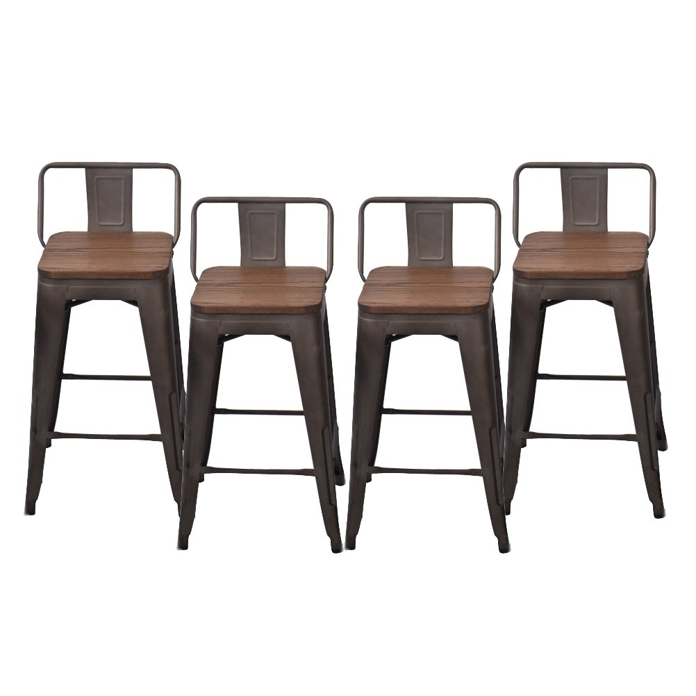 Pack of 4 Low Back Gunmetal Counter Bar Stool Indoor-Outdoor Stackable Bistro Cafe Bar Stools (24 inch, Low Back Wooden) by Changjie Furniture