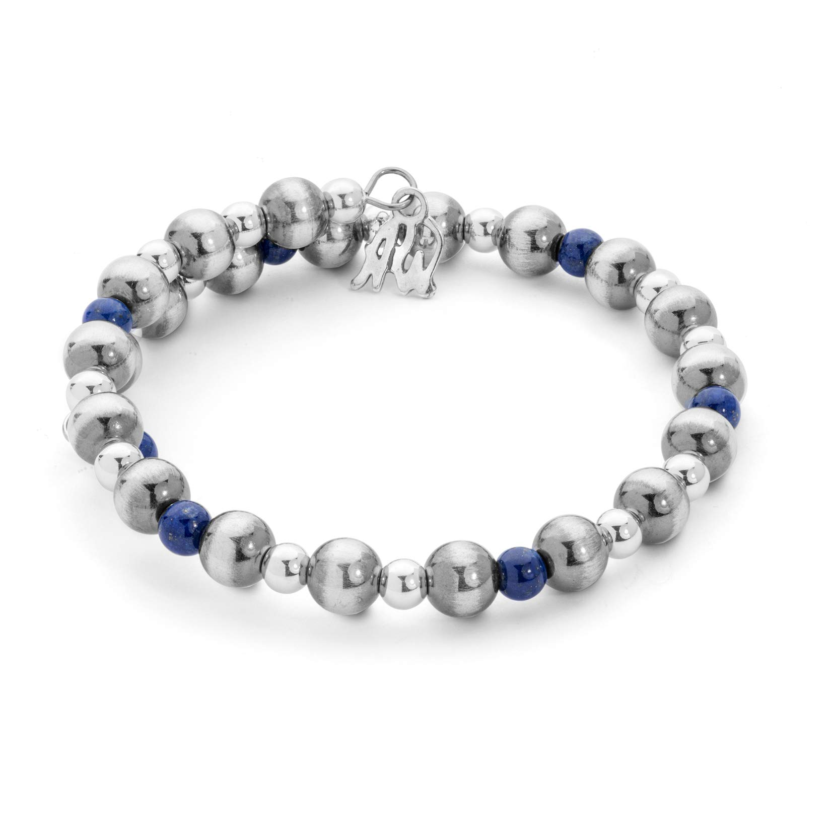 American West Sterling Silver and Blue Lapis Beaded Single Wrap Bracelet by American West