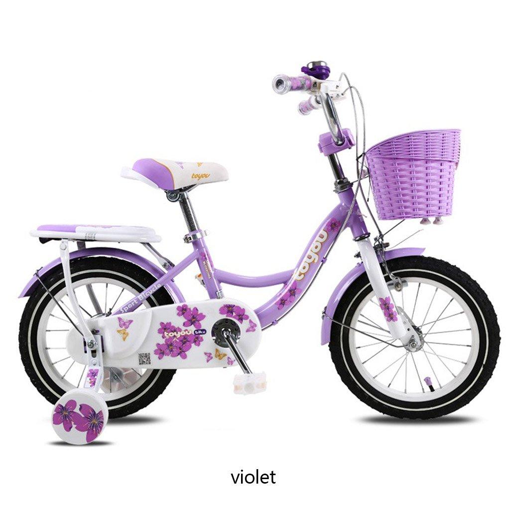 CSQ 子供の自転車、女の子に適したサイドホイールバスケット付きのベイビー快適なシートメタル素材2-10歳の使用88-121CM 子供用自転車 (色 : Violet, サイズ さいず : 88CM) B07DQCL2KB 88CM|Violet Violet 88CM
