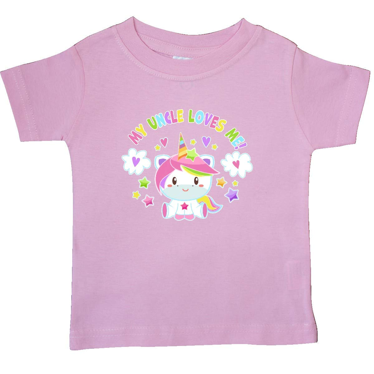 inktastic My Uncle Loves Me with Cute Rainbow Unicorn Baby T-Shirt