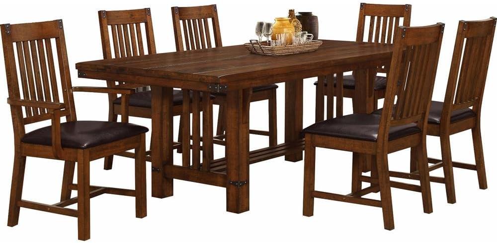 NCF Burlington - Mesa de Comedor Industrial rústica de Madera Maciza y sillas en Caoba marrón: Amazon.es: Juguetes y juegos