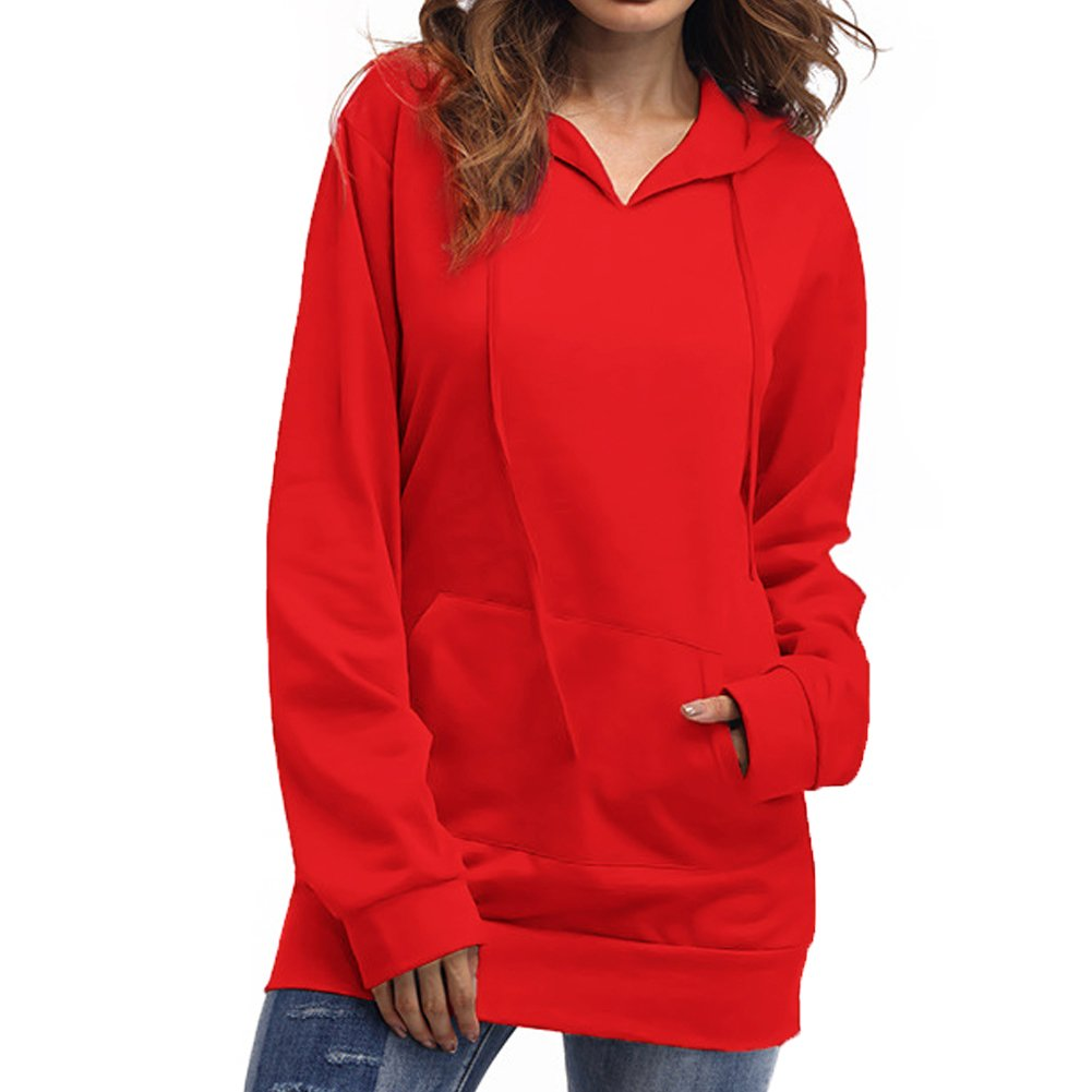 DOKER Women's Solid Color Kangaroo Pocket Long Sleeves Hoodie Pullover Sweater DC1210027