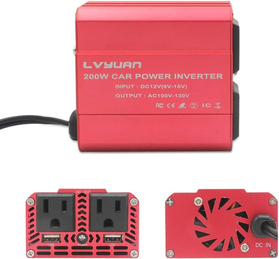 Yinleader 200W Car Power Inverter DC 12V to 110V AC Car Inverter with 2 USB Charging Ports Power Converter with 2 AC Outlets Car Charger Portable car inverters