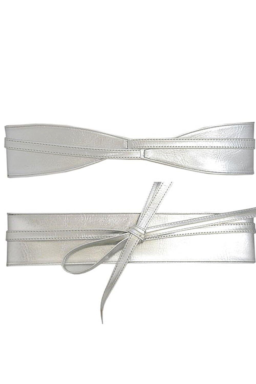 Silver Womens Wide Faux Leather Self Tie Wrap Obi Waist Belt LT50
