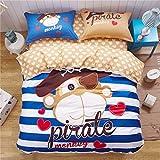 CASA Children 100% cotton series Pirate Monkey Duvet cover & Pillow case & Flat sheet,3 Pieces,Twin