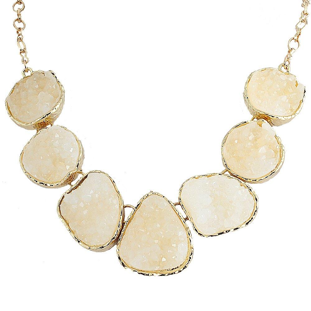 Jane Stone White Drusy Necklace Statement Necklace Bib Necklace Chunky Necklace(Fn0833-White)