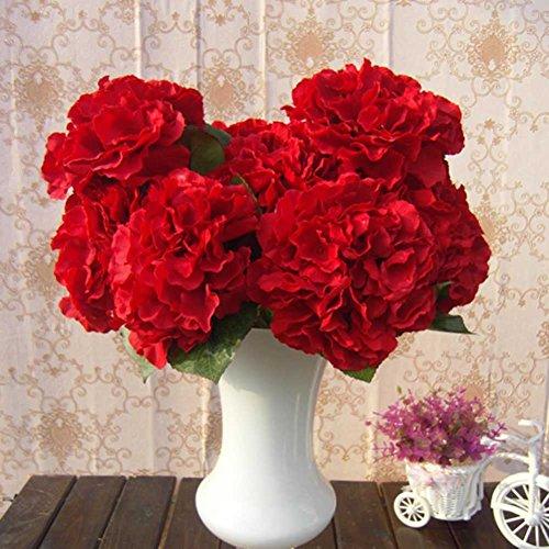 AMTION Artificial Silk Fake 5 Heads Flower Bunch Bouquet Home Hotel Wedding Party Garden Floral Decor Hydrangea Red