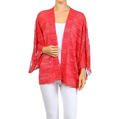 ReneeC. Women's Long Sleeves Open Front Cardigan - Crochet Kimono Style