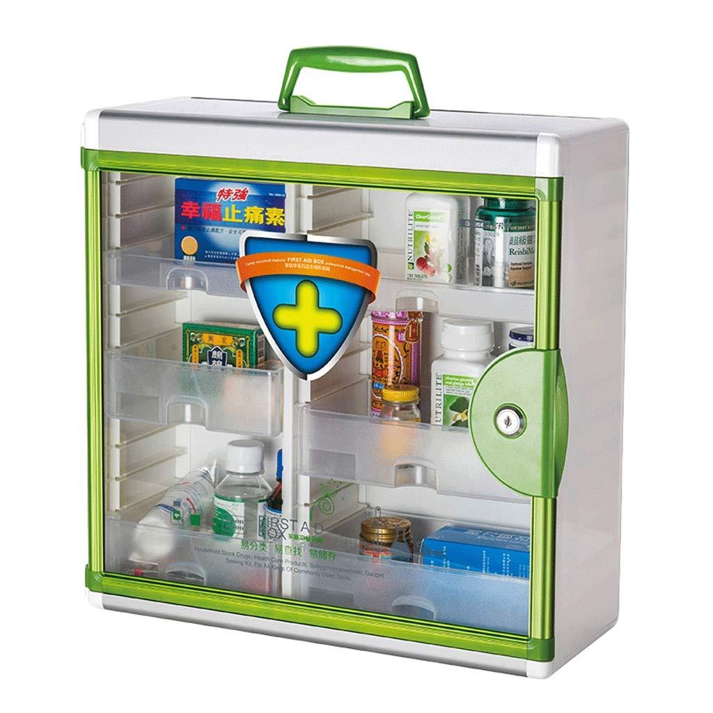 薬箱アルミ合金家庭用薬箱薬外来救急医療箱収納ボックス (色 : 緑)  緑 B07QSHR3Y2