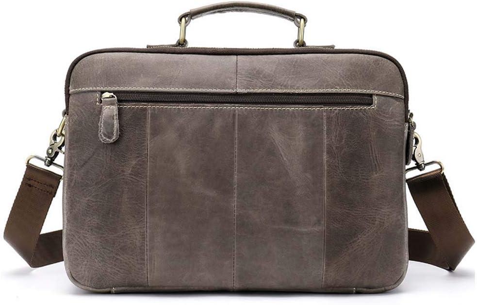 Color : Dark Brown Kindlov-BG Men Laptop Briefcase Bag Men Vintage Leather Messenger Bag Genuine Leather Working Briefcase for School Travel