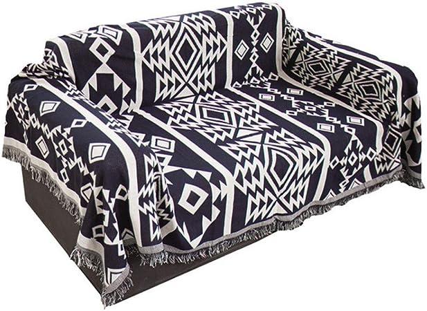 Telihome Patrón geométrico de algodón Mantel de Tela Blanca y Negra sofá tapicería Toalla Multifuncional Manta sillón Cubierta 180 * 230 cm: Amazon.es: Hogar