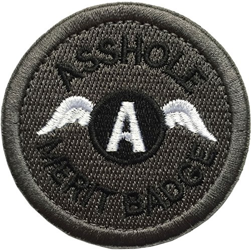 """SpaceAuto Asshole Merit Badge Military Tactical Morale Funny Patch - 2.48"""" Inches Diameter - Black & Gray"""